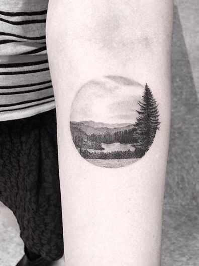 Dr. Woo tattoo, would be cool to have one of Lake George like this.