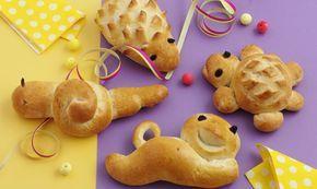 Zopfteig-Tierli: Igel, Katze, Schildkröte, Schnecke: Teig: Mehl, Salz und Zucker mischen, eine Mulde formen. Butter in kleinen Stücken in die Mulde geben. Die ...