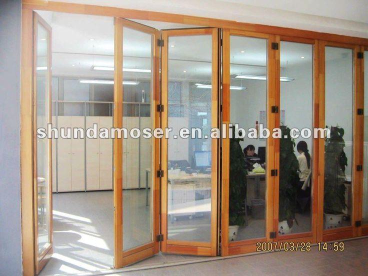 Moser de madera plegables de vidrio de la puerta corredera for Puertas de madera con vidrio para exterior