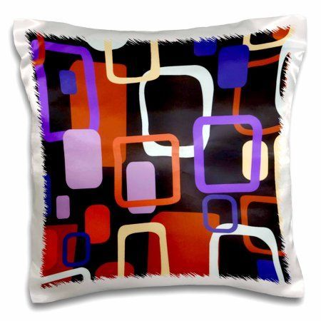 3dRose Retro Squares n Oblong In Purple n Orange, Pillow Case, 16 by 16-inch