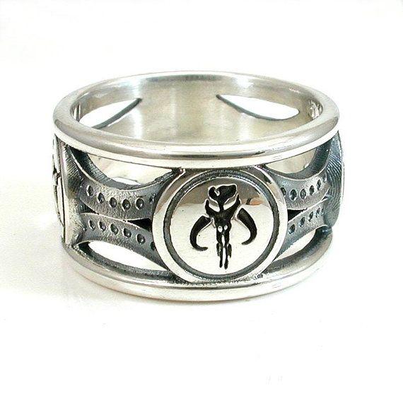 Mythosaur Skull Star Wars Silver Mens Ring - Mandalorian Symbol on Etsy, $325.00