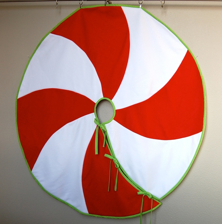 Red & White Peppermint Swirl Christmas Tree Skirt by ...