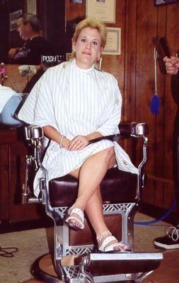 Blonde 2 Girls Barbershop Shaved Head Fall Hair