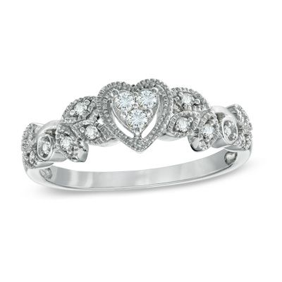 Zales 1/8 CT. T.w. Enhanced Black and White Diamond Heart Sides Promise Ring in Sterling Silver and 10K Rose Gold iLCWn6