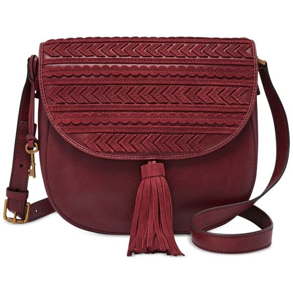 Fossil Emi Saddle Bag ($218) ❤ liked on Polyvore featuring bags, handbags, shoulder bags, purses, wine, leather purses, fossil crossbody, red leather purse, crossbody purses and leather man bags