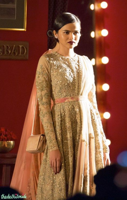 Pastel shade anarkali with floral belt - Sabyasachi India Couture Week 2014 #ICW2014