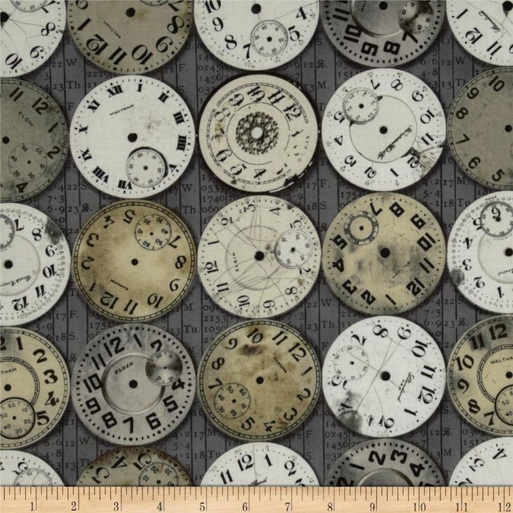 Tim Holtz Eclectic Elements Timepieces Taupe from @fabricdotcom  Designed by Tim Holtz, this cotton print fabric is perfect for quilting, apparel, crafts, and home decor items. Colors include ivory, beige and brown on taupe.