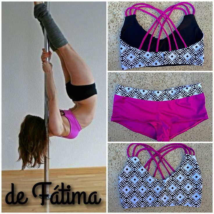 Top y Calzas PoleDance Black&White Uva