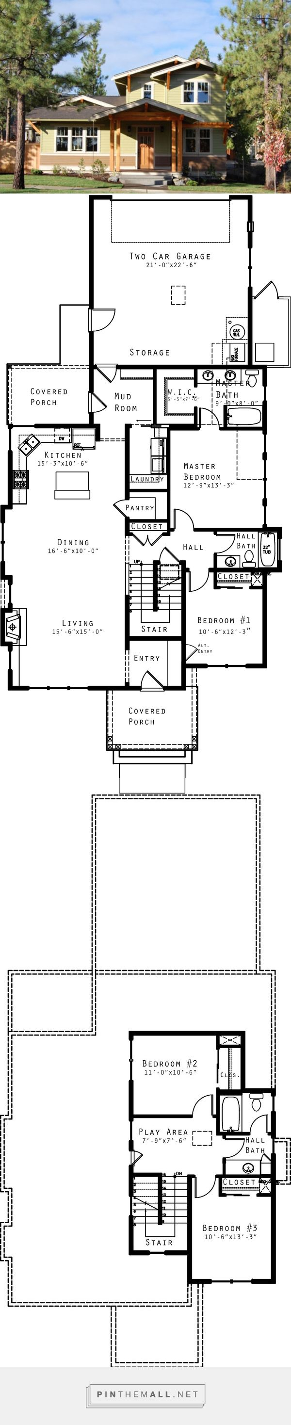 Craftsman Style House Plan - 4 Beds 3 Baths 1940 Sq/Ft Plan #434-16 - Swap stove and sink, change windows. For a side view Tiny porches- front porch swing? Doors for vestibule? Front closet? No bath handy to an entry