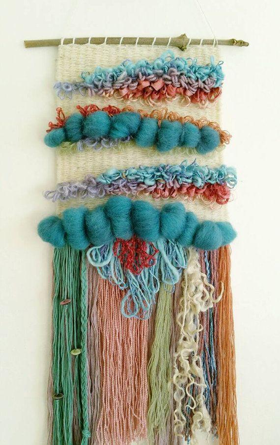 Tejido Arte 'Petunia' arte de la fibra de por WallflowerWeavings