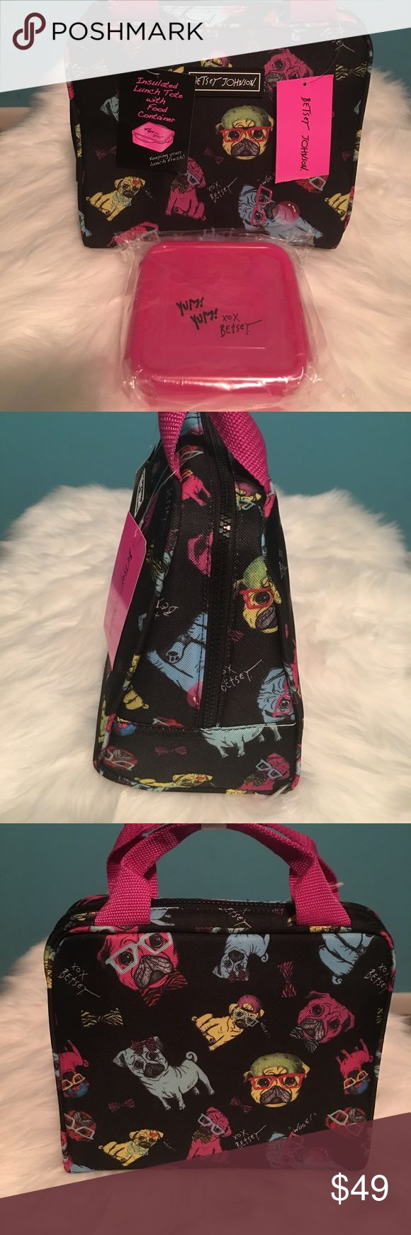 Betsey Johnson 2 Piece Pug Insulated Lunch Tote Brand New With Tags Betsey Johnson 2 Piece Pug Puppy Insulated Lunch Tote With Sandwich Container Betsey Johnson Bags