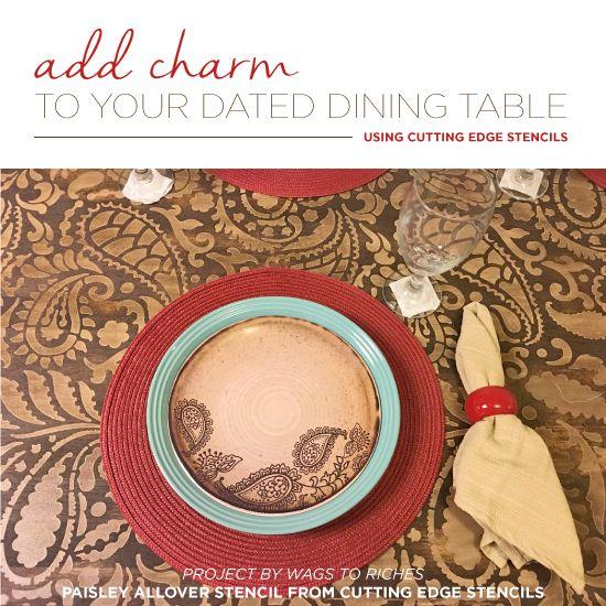 Cutting Edge Stencils shares two DIY stenciled dining table makeovers using furniture stencils. http://www.cuttingedgestencils.com/craft-stencils-furniture-stencils.html