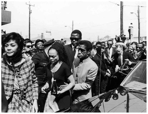 Nancy Wilson, Eartha Kitt, Sammy Davis Jr., Sidney Poitier, Berry Gordy and Marlon Brando attend the funeral of Dr. Martin Luther King Jr.