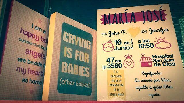 Cuadro de nacimiento personalizado  http://www.kangutingo.com/2016/08/cuadro-de-nacimiento-nina.html