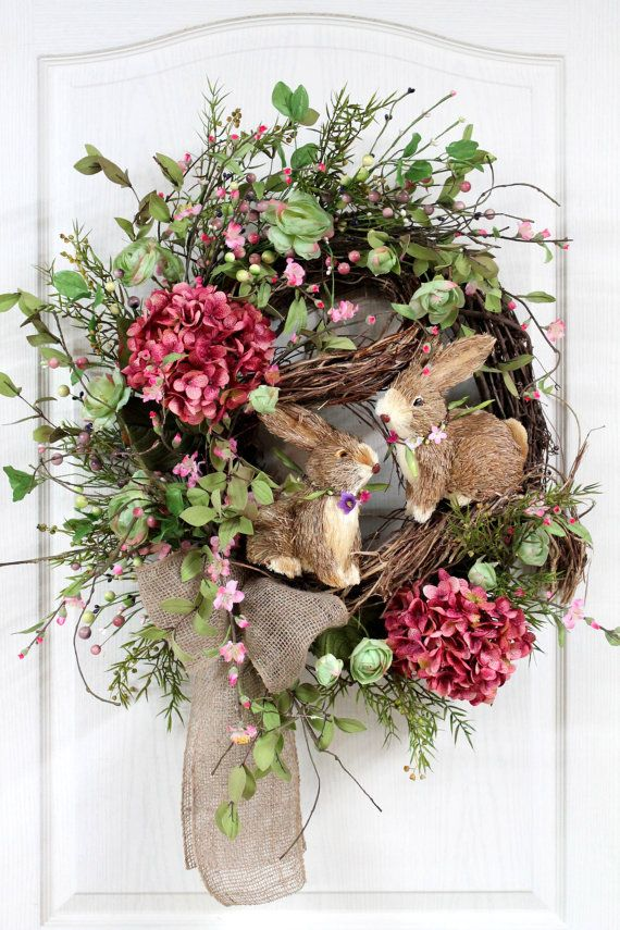 Easter Door Wreath, Primitive Country Wreath, Easter Wreaths, Easter Bunnies, Easter Pip Berries, Easter Decor -- FREE SHIPPING. $176.00, via Etsy.