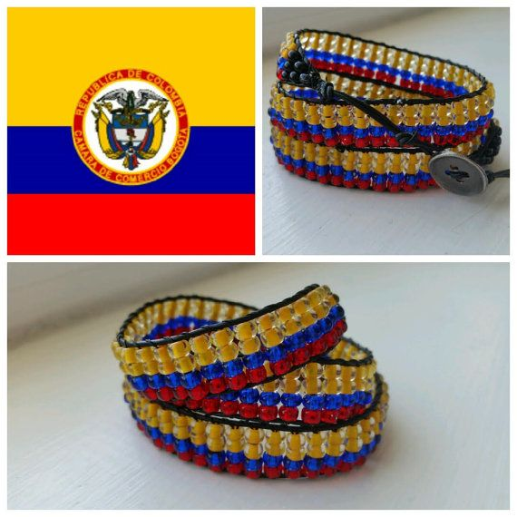 Colombia Flag Handmade Triple Wrap Beaded by BeadedWhispers