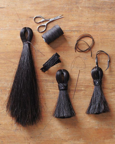 Horse hair tassel  this would be a great 4-H activity the kids could use a bit from their own horses tails :)