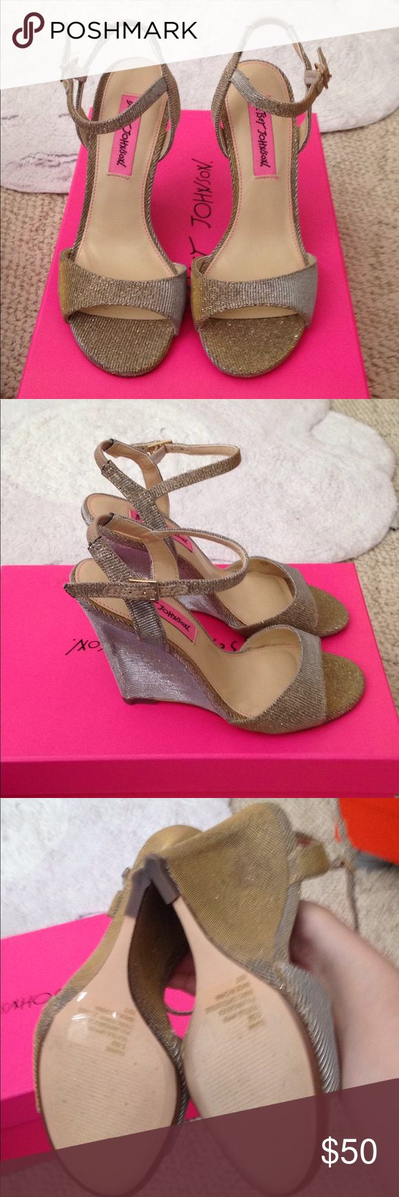 Betsey Johnson gold wedge heels Brand new never worn but I did remove the tag when it was bought. Betsey Johnson Shoes Wedges