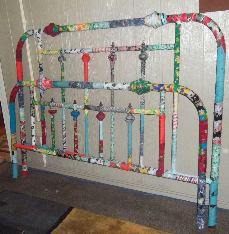 gypsy  style ,decoupage  bed - headboard & foot  board ..