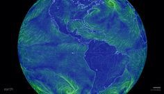 Cameron Beccario / Earth Wind Map .. view depicts winds swirling around Central and  South America, 2016