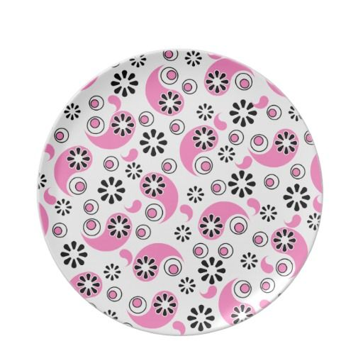 Pink and Black Abstract Flowers Party Plate