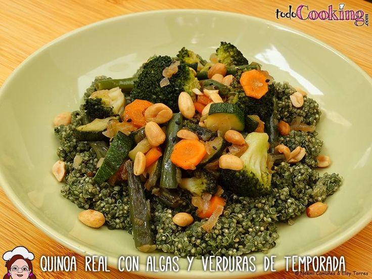 Quinoa Real con algas y verduras de temporada. Receta vegana
