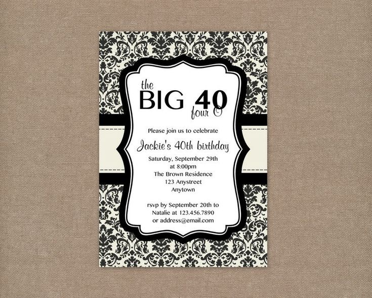 7 best invitations images on pinterest 40 birthday 40th birthday custom printable cream and black damask 40th birthday party invitation 1000 via etsy stopboris Image collections