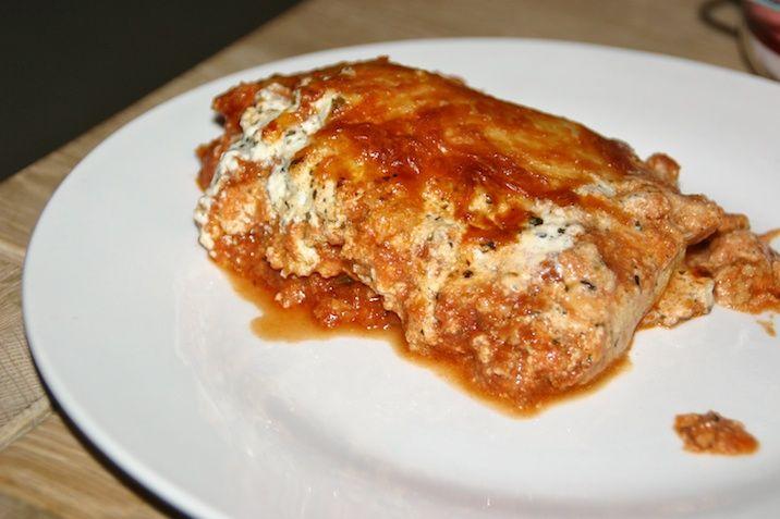 Kyllingelasagne med fire slags ost og LCHF-pastaplader