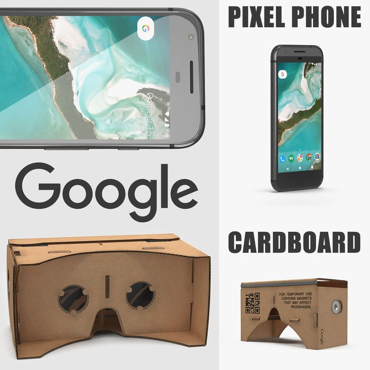 3D model Google Cardboard VR Headset and Pixel Phone Collection