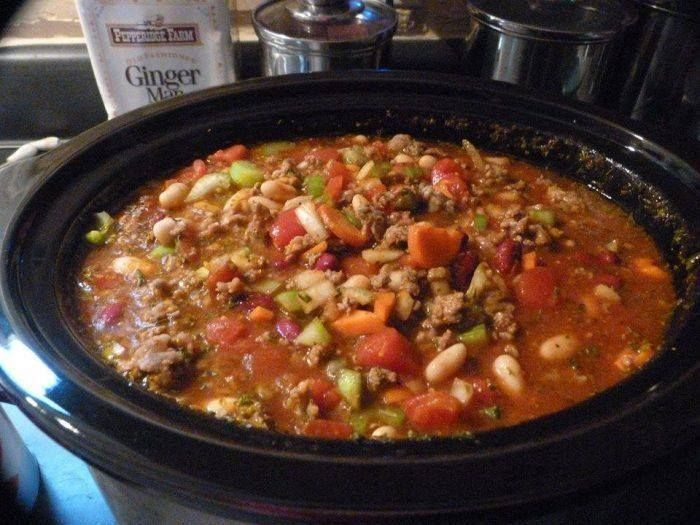 Yummy, Please make sure to Like and share this Recipe with your friends on Facebook and also follow us on facebook and Pinterest to get our latest Yummy Recipes. To Make this Recipe You'Il Need the following ingredients: Ingredients : 2 lbs. of ground beef 1 onion, chopped 3 carrots, chopped 4 stalks of celery, chopped 2 (28 ounce) cans diced tomato's, undrained 1 (16 ounce) can red kidney beans, drained and rinsed 1 (16 ounce) can white kidney beans, drained and rinsed 3 (10 ounce) cans of…