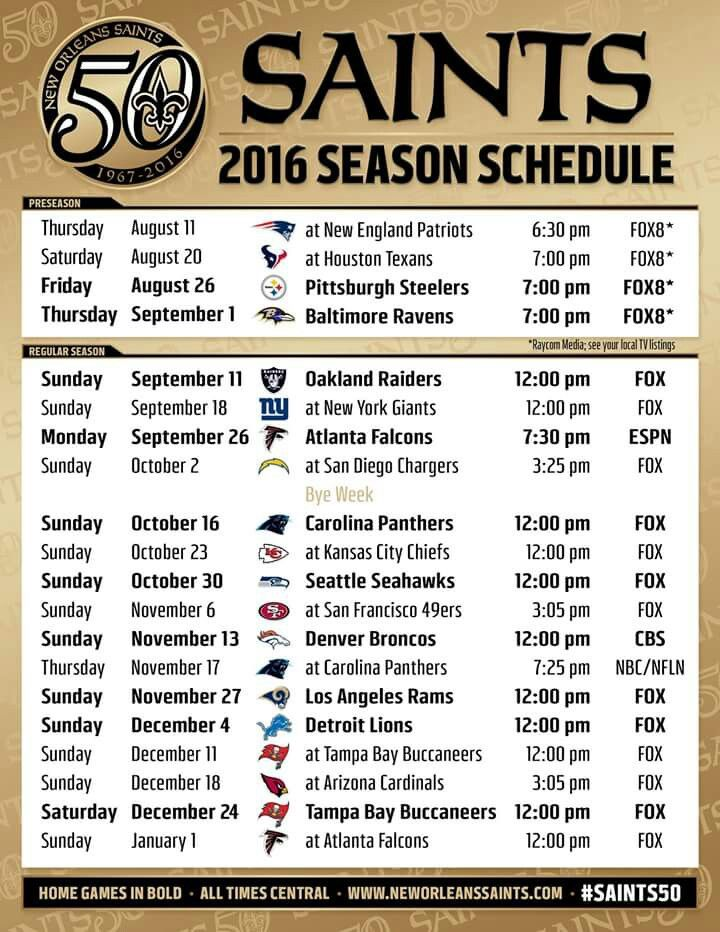 2016 New Orleans Saints NFL  Football Schedule