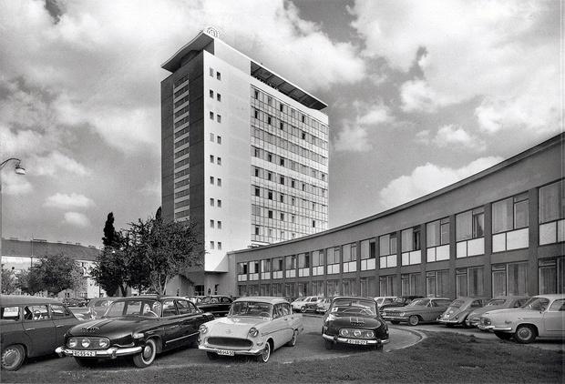 The administrative building of BVV (Brněnské Veletrhy and Výstavy = Brno Trade Fairs and Exhibitions), Czechoslovakia.   Year: 1958-60  Architect(s): Miroslav Spurný & Antonín Ševčík  Photographer: Fr. Bittner