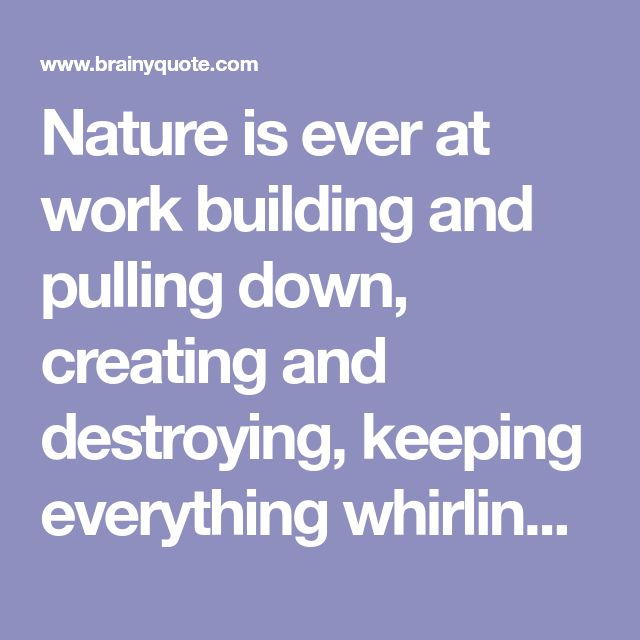Nature is ever at work building and pulling down, creating and destroying, keeping everything whirling and flowing, allowing no rest but in rhythmical motion, chasing everything in endless song out of one beautiful form into another. - John Muir - BrainyQuote