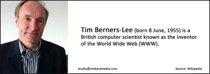 We admire and salute Tim Berners Lee, inventor of the world wide web (WWW).