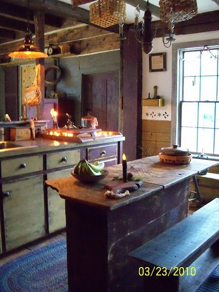 MY 1860 FARMHOUSE - Renovation to make the kitchen look rustic and primitive.boards  on top of the kitchen island lift up so there is room for storage ...