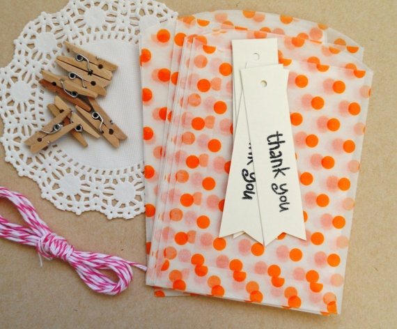 birthday party favor kit. orange mini bags thank you by magdalenarose,