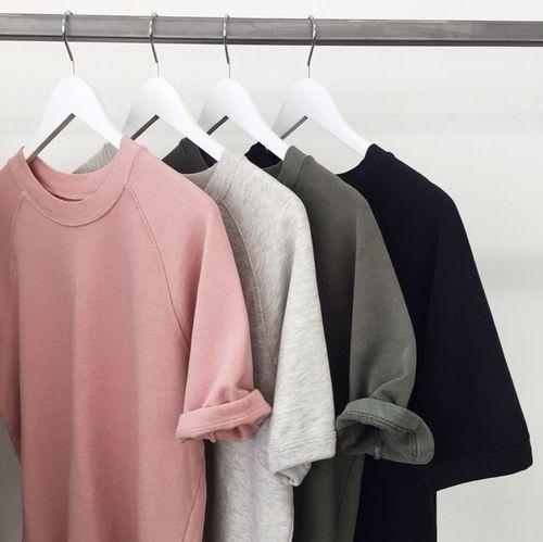 Tee-shirt basic, Simple : gris /noir/blanc/rose pâle - Zara / rad.co