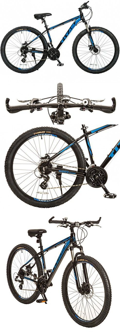 Titan Omega Alloy-Frame Mountain Bike with Front-Suspension, 17-Inch Frame, 24-Speed, 27.5-Inch Wheels, Glossy Black