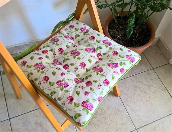 Outdoor chair pad with little roses floral chair cushion