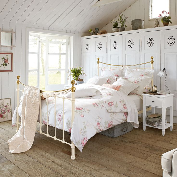 An iron bed captures the look in a vintage home