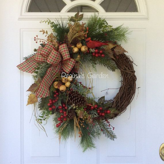 Christmas Wreath for Front Door-Christmas Cardinal Wreath-Holiday Wreath-Christmas Wreaths on Etsy-Cardinal Wreath-Evergreen Wreath