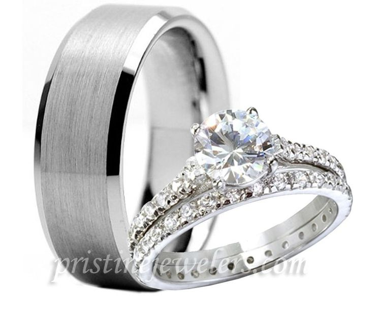 His & Her Womens 925 Sterling Silver Wedding Ring Mens Tungsten Band 3pc Set NEW