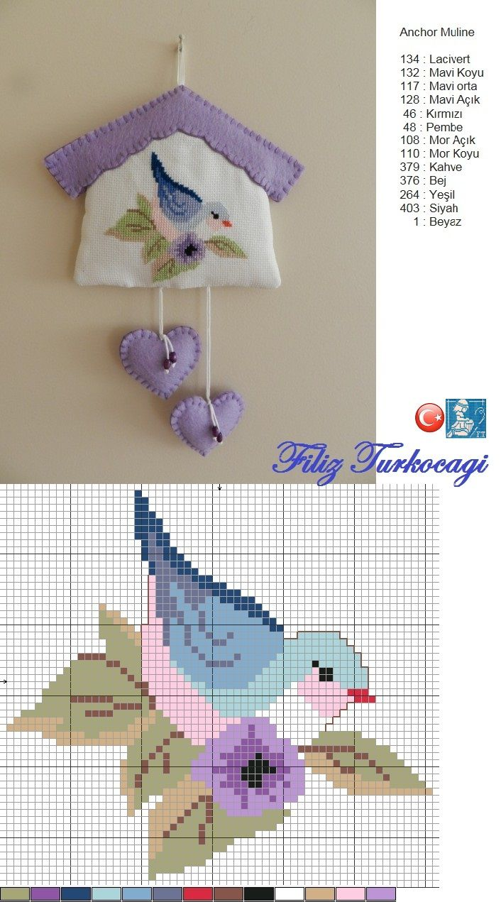 Bird pattern / chart for cross stitch, crochet, knitting, knotting, beading, weaving, pixel art, and other crafting projects