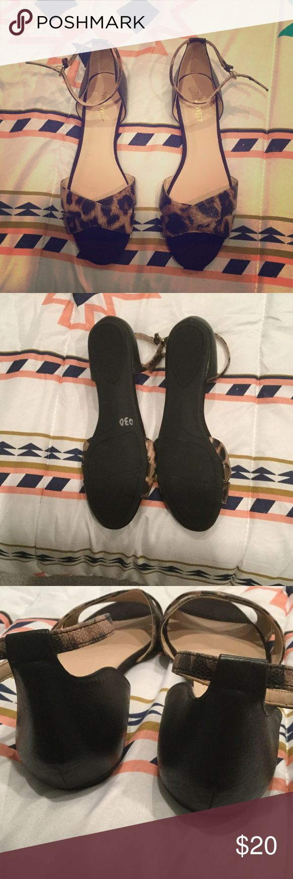 Nine West open toe flats with ankle straps! Never worn only tried on Nine West open toe flats/sandals with ankle straps Nine West Shoes Sandals