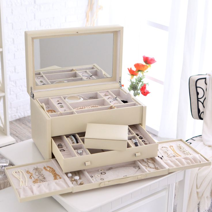 Have to have it. Holden Extra Large Bonded Leather Jewelry Box - Ivory - 16.5W x 10H in. hayneedle.com