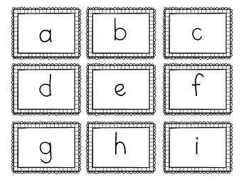 Upper Case and Lower Case Letter Cards with Border (With
