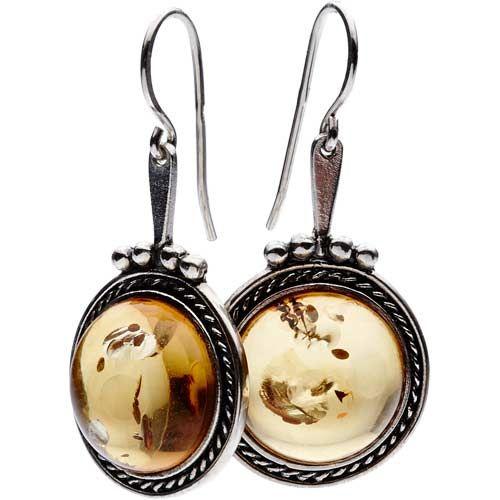 """Framed Amber Earrings Sterling silver and amber, length 1-1/2"""", diameter 3/4"""" Riga, Latvia"""