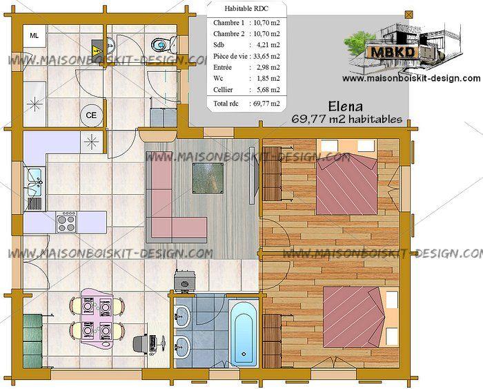 Plan petite maison pas chere 2 chambres 70m2 am nagement - Petite maison en bois habitable ...