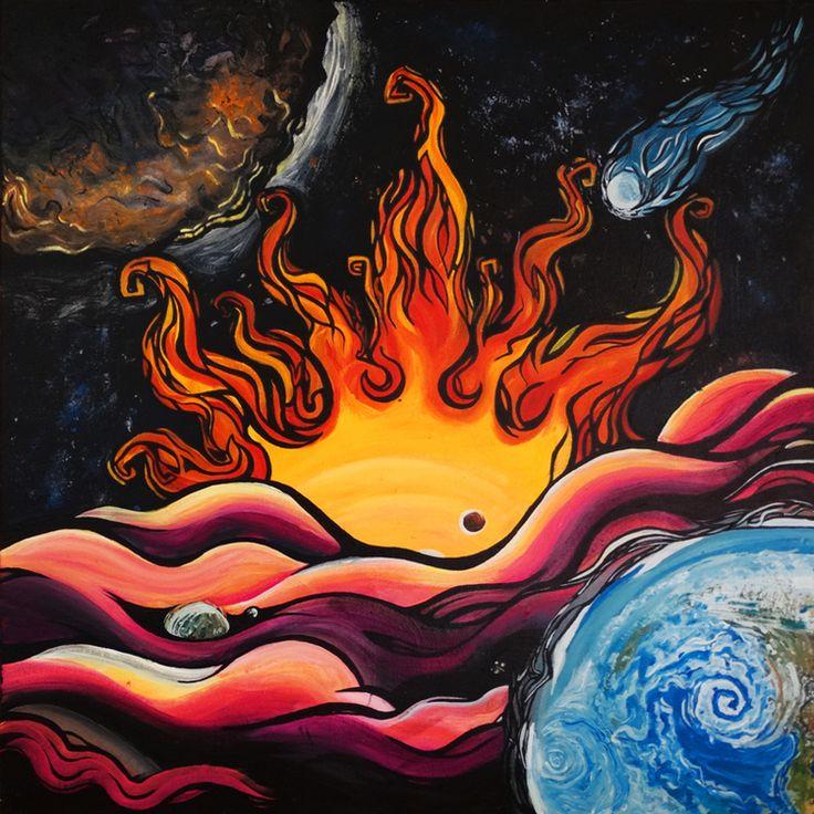 """ANCIENT MARS"" - 20"" x 20"" #Acrylic on Canvas. #space #spaceart #planets #mars #art #acrylicart #painting #YMIstudios"