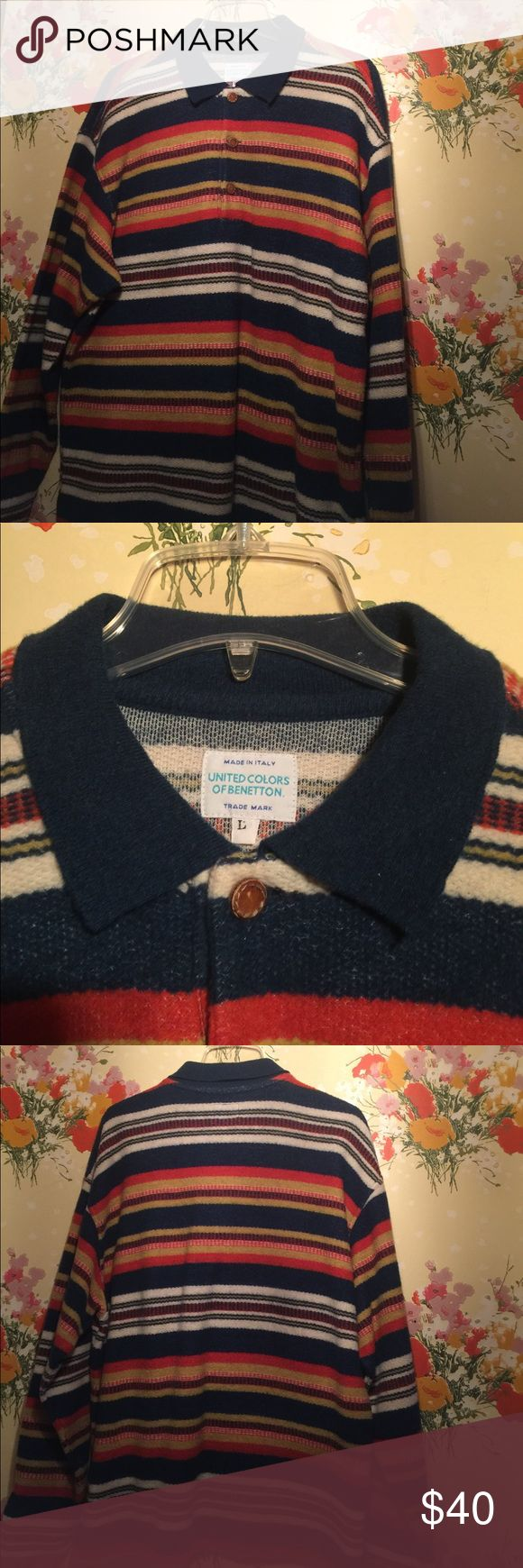 Vintage Oversized sweater Benetton-leather buttons Wow! Super cute vintage sweater (circa 80's) with leather buttons.  No stains or rips.  Would look super cute with leggings and short boots.  No tag as to the material but it is soft- not scratchy. United Colors Of Benetton Sweaters Shrugs & Ponchos
